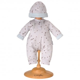 Grey Star Pajamas & Cap for 14-inch baby doll