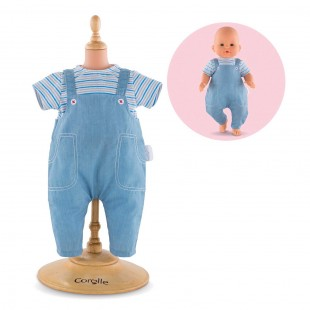 Striped T-Shirt & Overalls for 14-inch baby doll