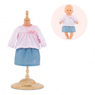 Top & skirt for 12-inch baby doll